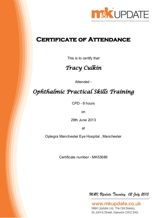 Ophthalmic Practical Skills Training Booking 53686 Certificate