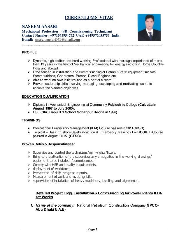 Nasheem CV- Commissioning Technician