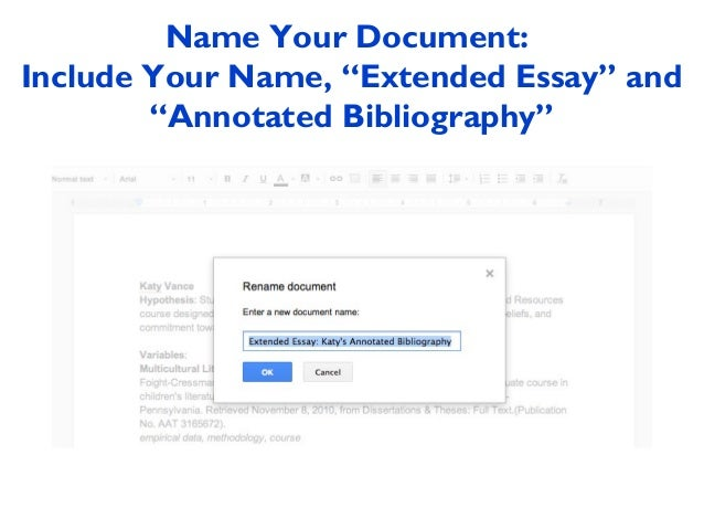 extended essay creating and sharing your annotated bibliography in g