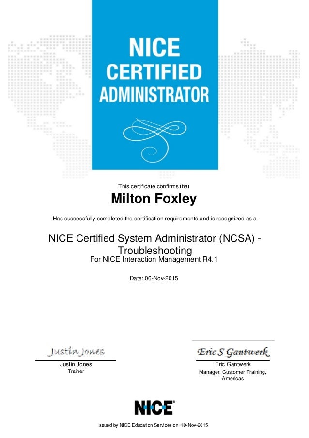 Nice Certificate Nice Certified System Administrator Ncsa Troub