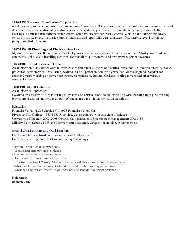 Resume electrician 2016