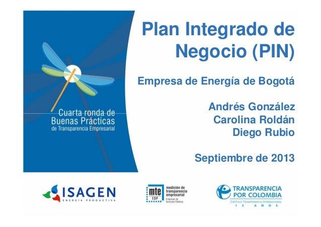 Plan Integrado de Negocio (PIN) Empresa de Energía de Bogotá Andrés González Carolina RoldánCarolina Roldán Diego Rubio Se...