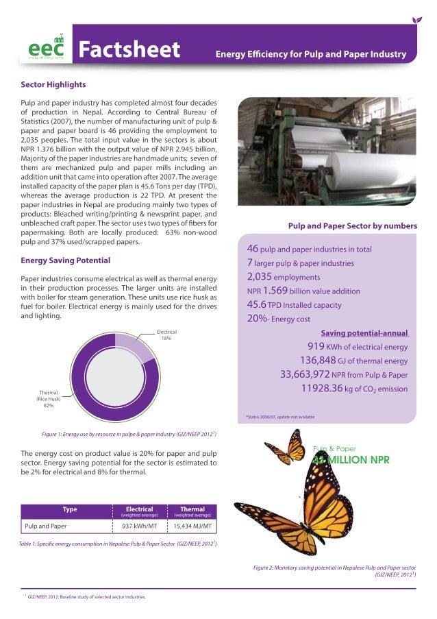 EEC Factsheet: Energy Efficiency for Pulp and Paper in Nepal