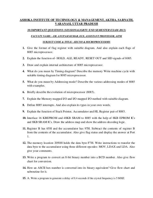 ASHOKA INSTITUTE OF TECHNOLOGY & MANAGEMENT, AKTHA, SARNATH, VARANASI, UTTAR PRADESH 30 IMPORTANT QUESTIONS (SESSIONAL/GBT...