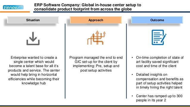 ERP Software Company: Global in-house center setup to consolidate product footprint from across the globe Situation Enterp...