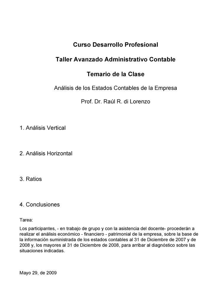 Curso Desarrollo Profesional                   Taller Avanzado Administrativo Contable                                   T...