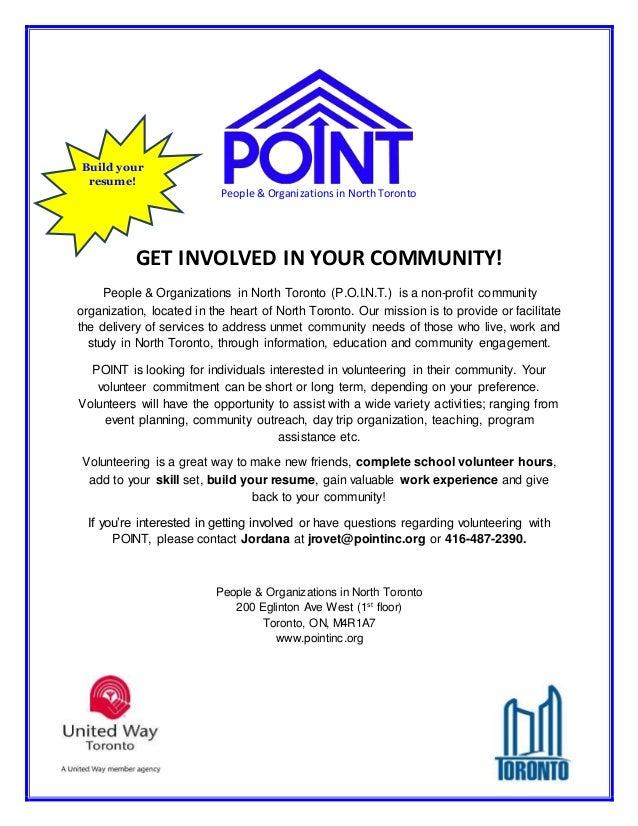POINT Volunteer Recruitment Flyer build your resume