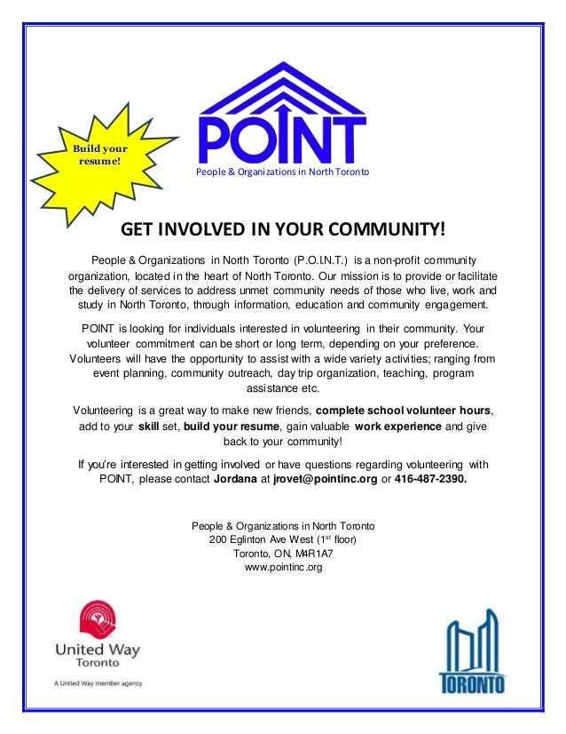 build your resume people organizations in north toronto get involved in your community