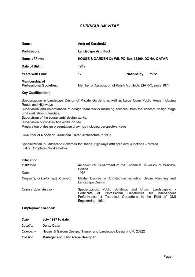 CV & Works & Supervision - Andrzej Karpinski H&G Co Wll 10-2013