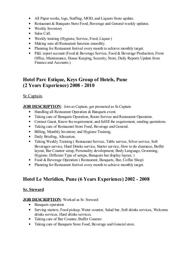 general manager food service job description sagar resume doc 15219