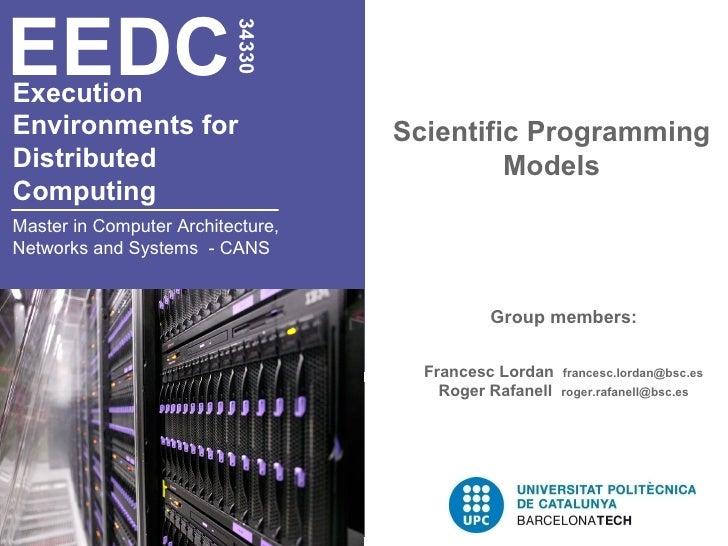 EEDC                          34330ExecutionEnvironments for                   Scientific ProgrammingDistributed          ...