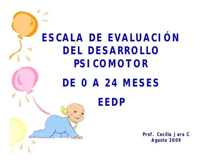 ESCALA DE EVALUACIÓN   DEL DESARROLLO     PSICOMOTOR  DE 0 A 24 MESES        EEDP               Prof. Cecilia Jara C      ...