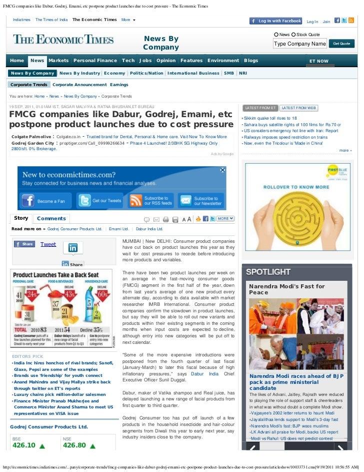 FMCG companies like Dabur, Godrej, Emami, etc postpone product launches due to cost pressure - The Economic Times     Indi...