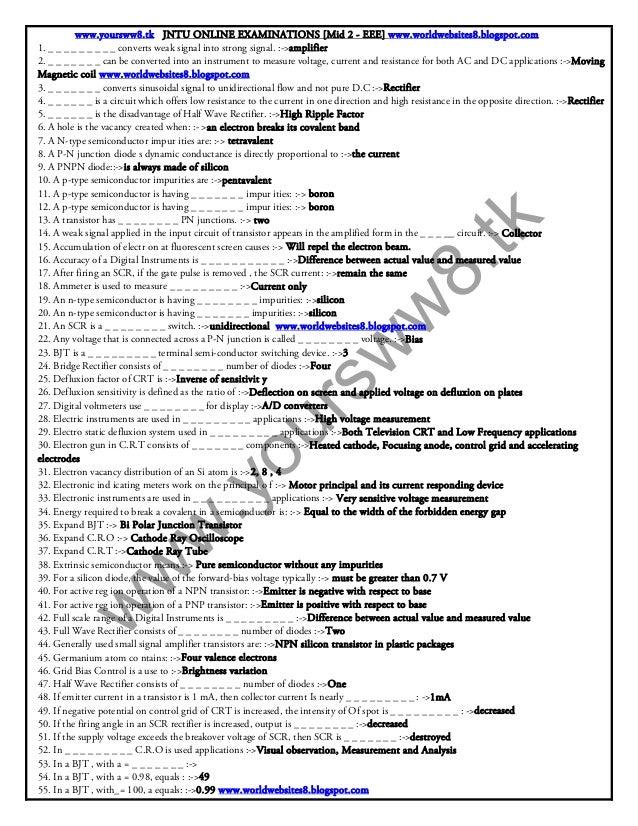 www.yoursww8.tk JNTU ONLINE EXAMINATIONS [Mid 2 - EEE] www.worldwebsites8.blogspot.com1. _ _ _ _ _ _ _ _ _ converts weak s...