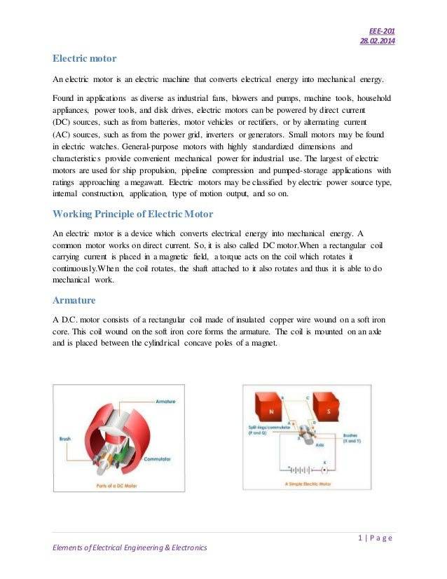 EEE-201 28.02.2014 1   P a g e Elements of Electrical Engineering & Electronics Electric motor An electric motor is an ele...