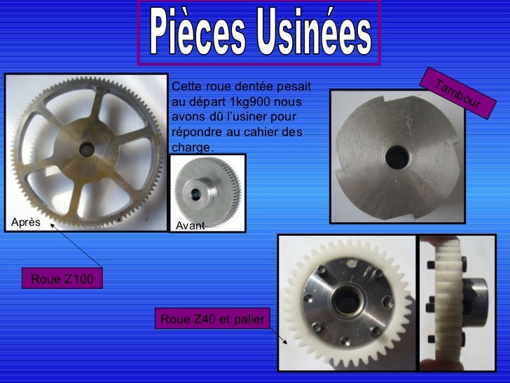Cette roue dentée pesait au départ 1kg900 nous avons dû l'usiner pour répondre au cahier des charge. Avant Après Pièces Us...