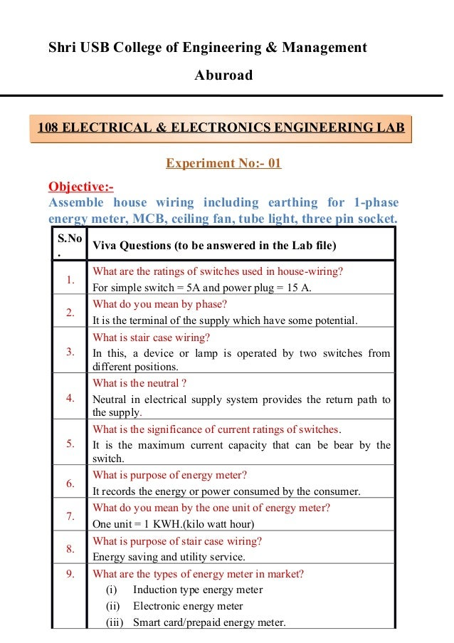 electrical and electronics lab viva questions rh slideshare net Electrical Wiring For Dummies electrical wiring objective type questions