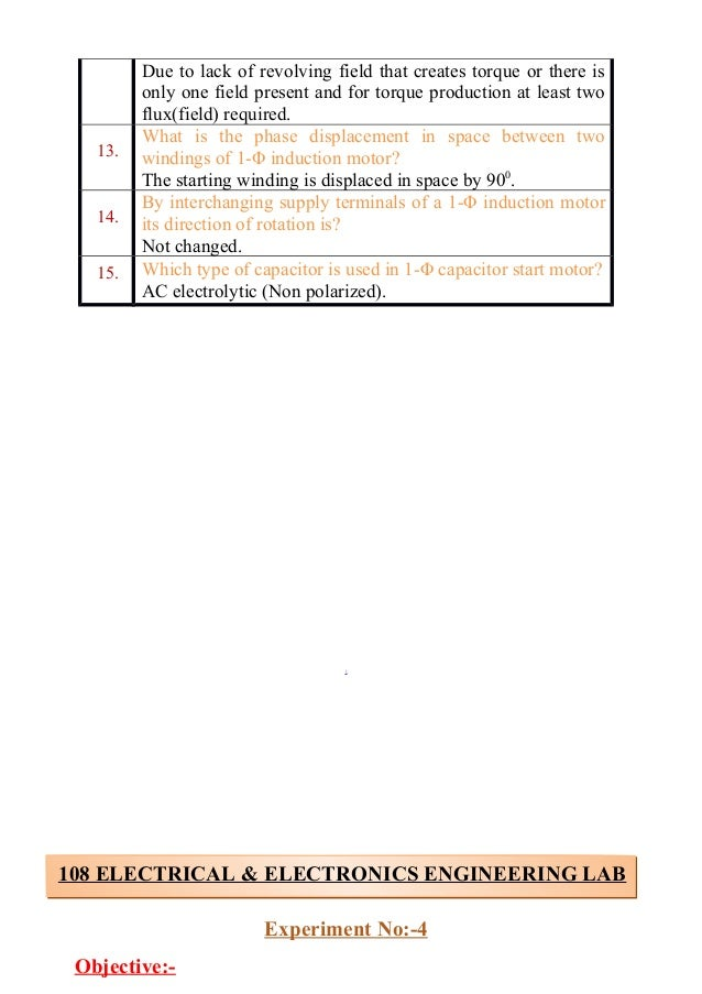 electrical and electronics lab viva questions rh slideshare net home wiring videos house wiring experiment viva questions