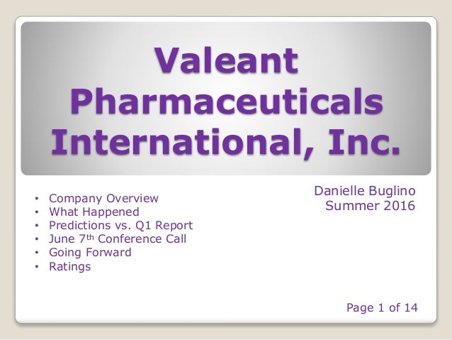 Valeant Pharmaceuticals International, Inc. Danielle Buglino Summer 2016 • Company Overview • What Happened • Predictions ...