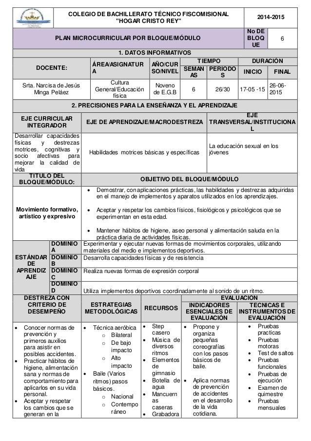 """COLEGIO DE BACHILLERATO TÉCNICO FISCOMISIONAL """"HOGAR CRISTO REY"""" 2014-2015 PLAN MICROCURRICULAR POR BLOQUE/MÓDULO No DE BL..."""