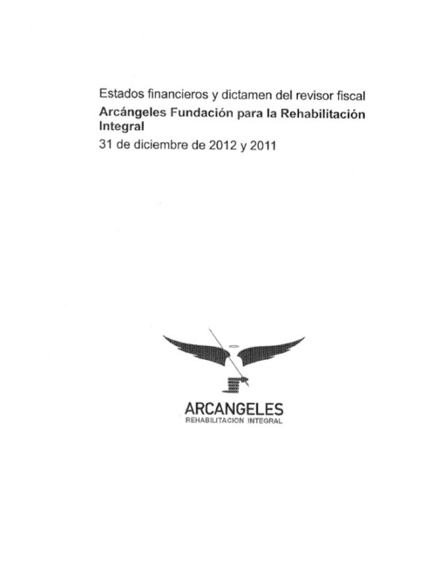 Estados financieros Arcángeles 2012