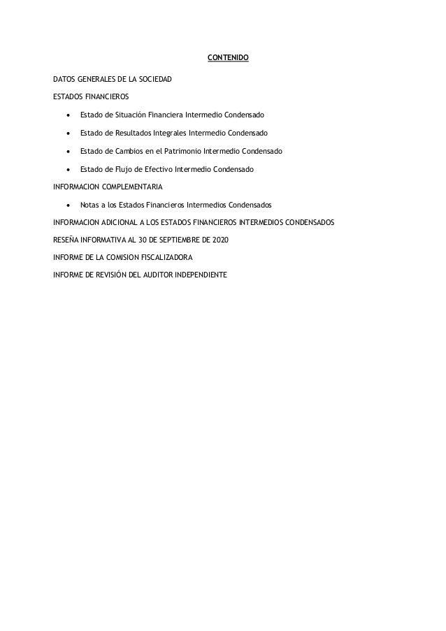 Balance actualizado EDELaR SA al 30 de septiembre de 2020 Slide 2