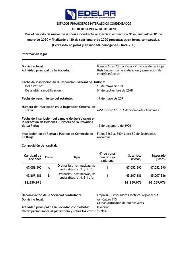 Balance actualizado EDELaR SA al 30 de septiembre de 2020 Slide 3