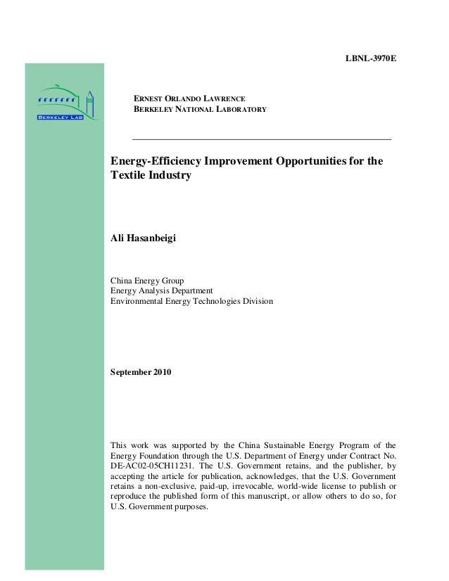 LBNL-3970E      ERNEST ORLANDO LAWRENCE      BERKELEY NATIONAL LABORATORYEnergy-Efficiency Improvement Opportunities for t...