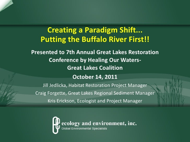 Creating a Paradigm Shift... Putting the Buffalo River First!! Presented to 7th Annual Great Lakes Restoration Conference ...