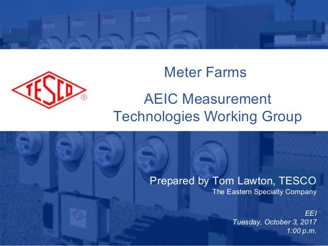 Slide 110/02/2012 Slide 1 Meter Farms AEIC Measurement Technologies Working Group Prepared by Tom Lawton, TESCO The Easter...