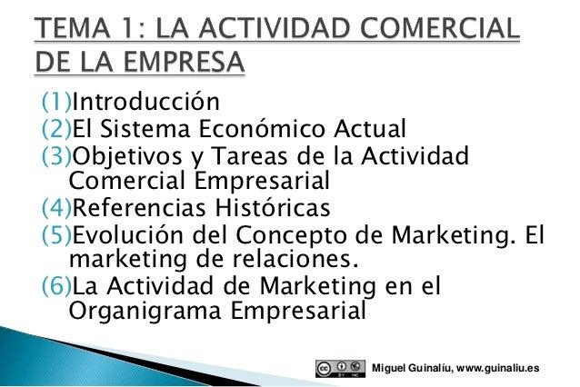 (1)Introducción(2)El Sistema Económico Actual(3)Objetivos y Tareas de la Actividad   Comercial Empresarial(4)Referencias H...