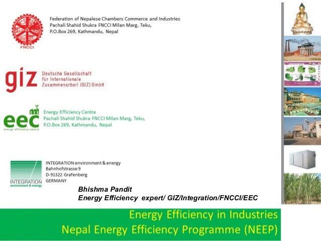 Bhishma Pandit Energy Efficiency expert/ GIZ/Integration/FNCCI/EEC