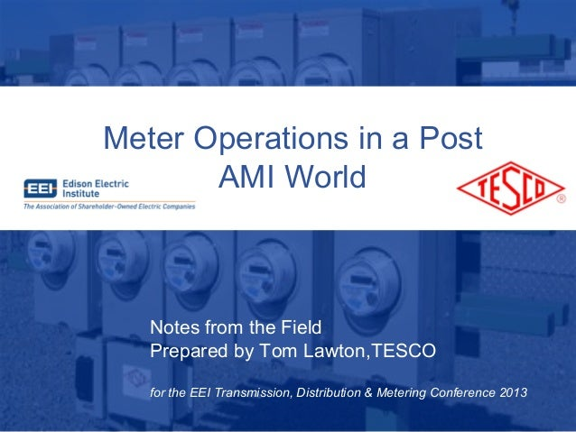 4/29/201310/02/2012 Slide 1Meter Operations in a PostAMI WorldNotes from the FieldPrepared by Tom Lawton,TESCOfor the EEI ...