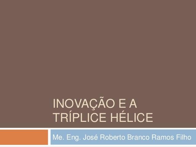 INOVAÇÃO E A TRÍPLICE HÉLICE Me. Eng. José Roberto Branco Ramos Filho