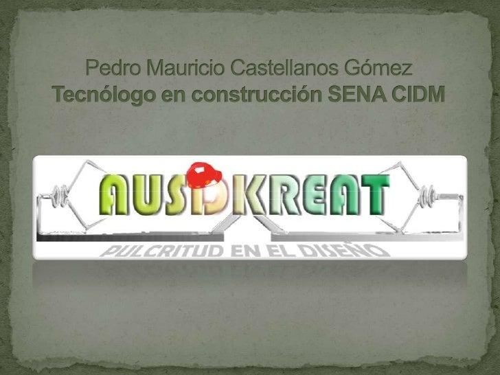 Pedro Mauricio Castellanos GómezTecnólogo en construcción SENA CIDM<br />
