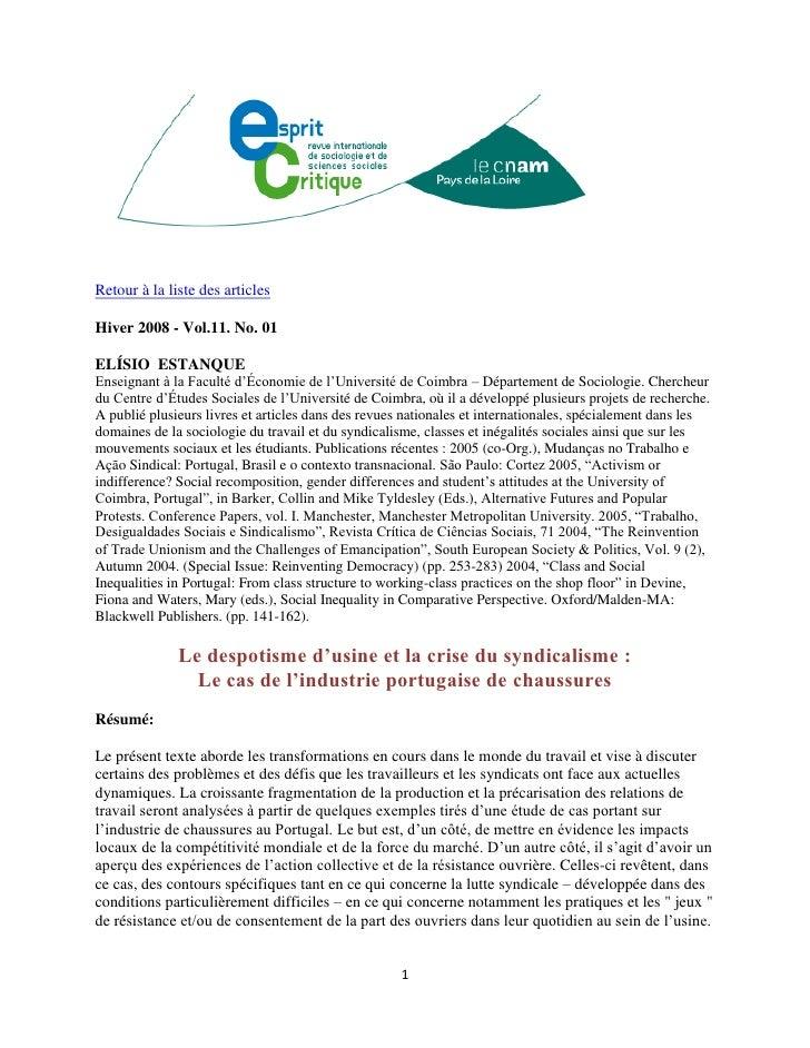 Retour à la liste des articlesHiver 2008 - Vol.11. No. 01ELÍSIO ESTANQUEEnseignant à la Faculté d'Économie de l'Université...