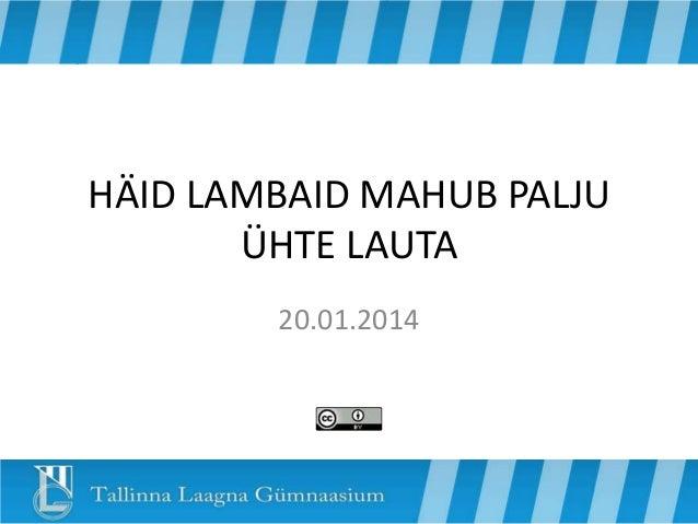HÄID LAMBAID MAHUB PALJU ÜHTE LAUTA 20.01.2014