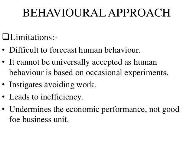 """behavioural approach to management First, the essay shall explain the nature of the """"classical"""" and """"human relations"""" approaches to management then, it will explore their similarities and (maslow , 1970) douglas mcgregor developed the theory x versus theory y approach to behavioural management douglas' theory x and theory y refer to the."""