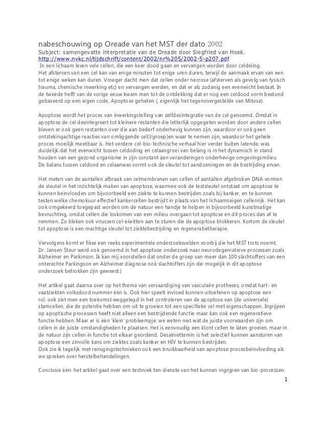 nabeschouwing op Oreade van het MST der dato 2002Subject: samengevatte interpretatie van de Oreade door Siegfried van Hoek...