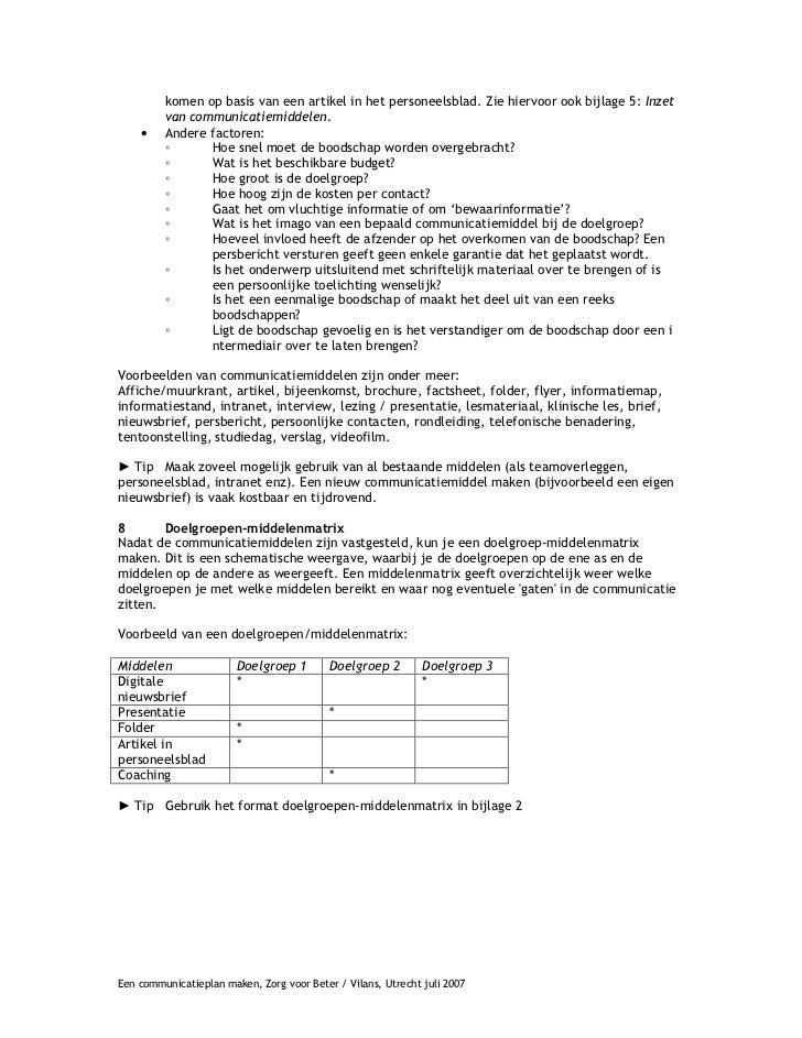 plan van aanpak communicatie voorbeeld Een communicatieplan maken plan van aanpak communicatie voorbeeld