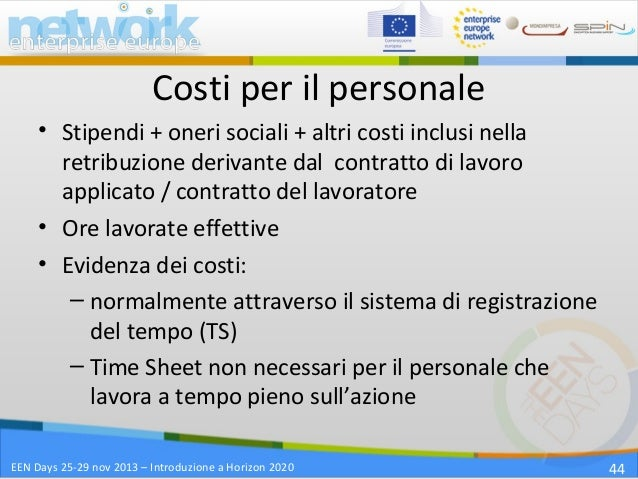 Introduzione a horizon 2020 programma quadro europeo per - Costo registrazione contratto ...