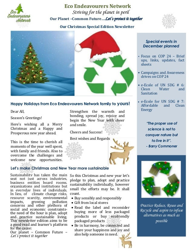 Eco Endeavourers Network Christmas Greetings Special Newsletter