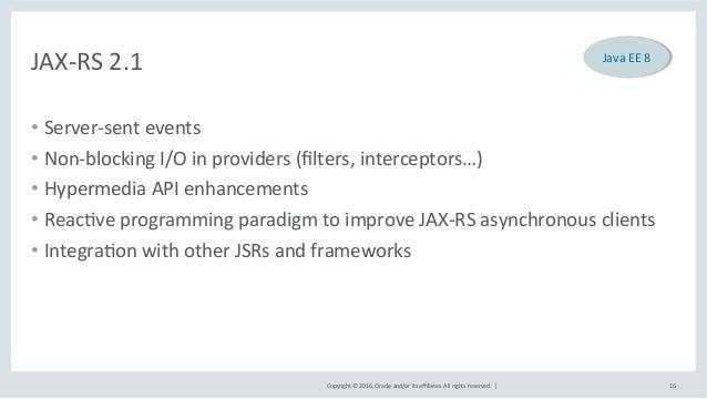 Copyright©2016,Oracleand/oritsaffiliates.Allrightsreserved.| JAX-RS2.1 • Server-sentevents • Non-blocking...