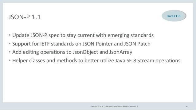 Copyright©2016,Oracleand/oritsaffiliates.Allrightsreserved.| JSON-P1.1 • UpdateJSON-Pspectostaycurrentw...