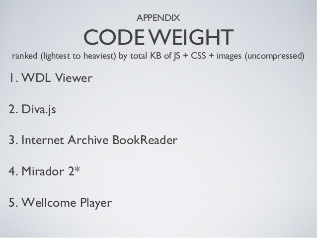 APPENDIX CODE WEIGHT ranked (lightest to heaviest) by total KB of JS + CSS + images (uncompressed) 1. WDL Viewer 2. Diva.j...