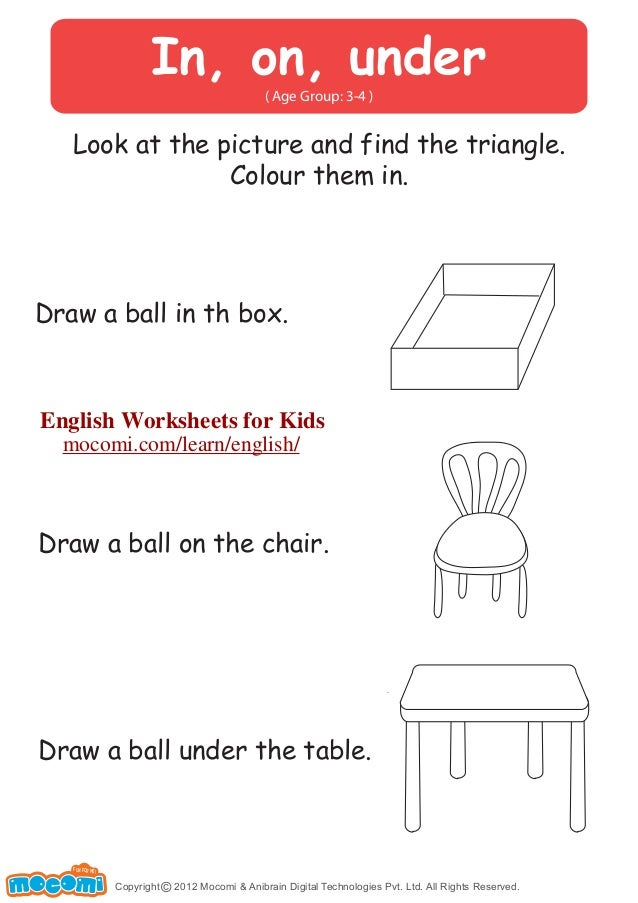 In On Under English Worksheets for Kids Mocomi – In and on Worksheets for Kindergarten
