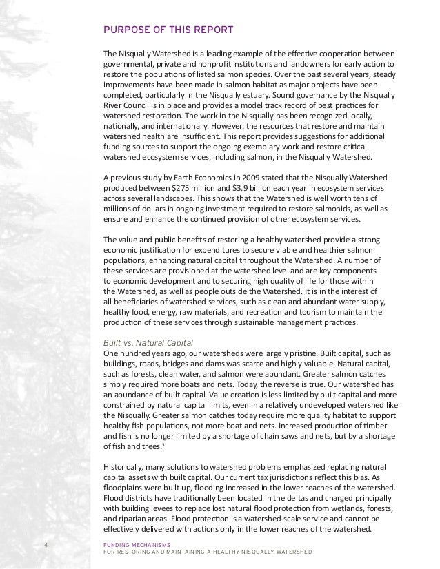 FUNDING MECHANISMS FOR RESTORING AND MAINTAINING A HEALTHY NISQUALLY WATERSHED 4 PURPOSE OF THIS REPORT The Nisqually Wate...
