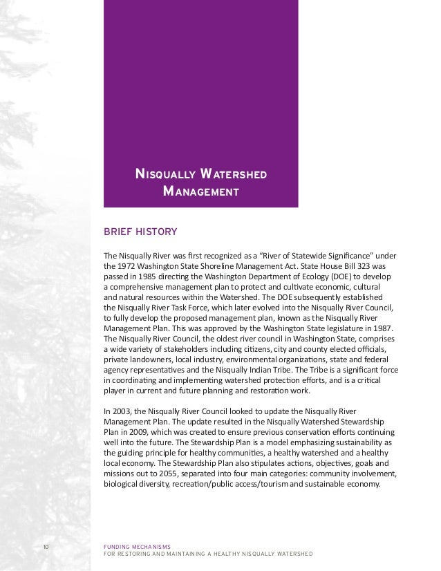 FUNDING MECHANISMS FOR RESTORING AND MAINTAINING A HEALTHY NISQUALLY WATERSHED 10 Nisqually Watershed Management BRIEF HIS...