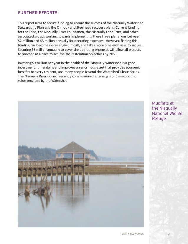 EARTH ECONOMICS 13 FURTHER EFFORTS This report aims to secure funding to ensure the success of the Nisqually Watershed Ste...