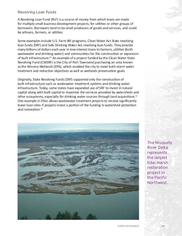 EARTH ECONOMICS 29 The Nisqually River Delta represents the largest tidal marsh restoration project in the Pacific Northwe...